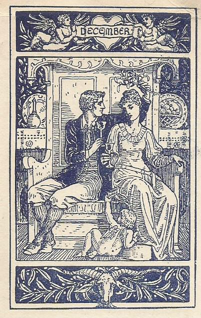 Victorian couple with drink and mistletoe.
