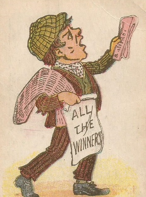 Edwardian newspaer vendor waving sheet 'All The Winners!' et