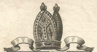 Engraving of bishop's mitre