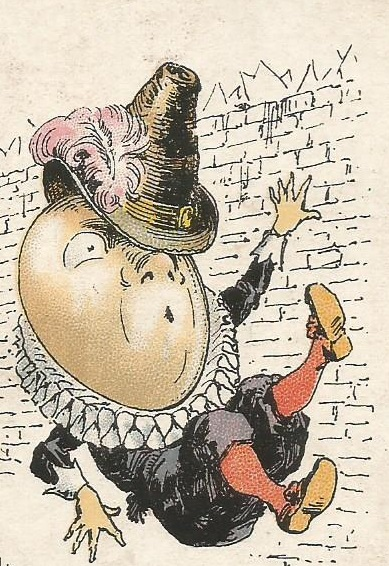Humpty Dumpty falling off wall.Old children's game card.