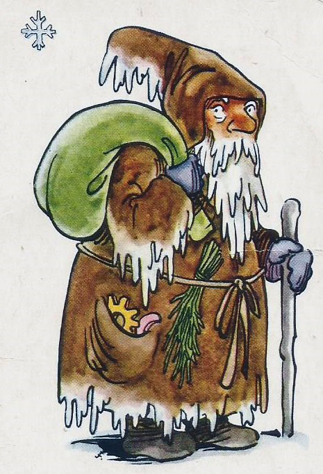 St Nicholas with green sack looking right on old children's game card