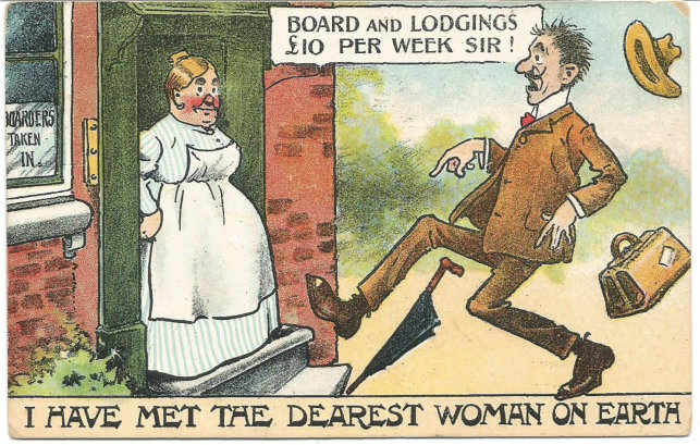 Old comic postcard. Landlady left, astonished potential lodger right.