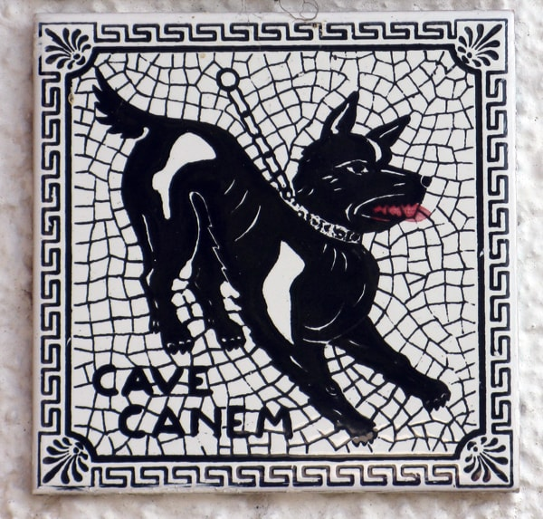 Chained dog as in Pompeian mosaic Cave Canem