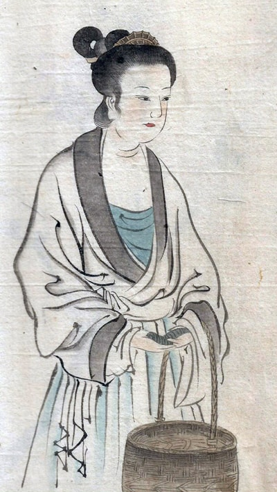 Ink sketch of oriental girl with basket