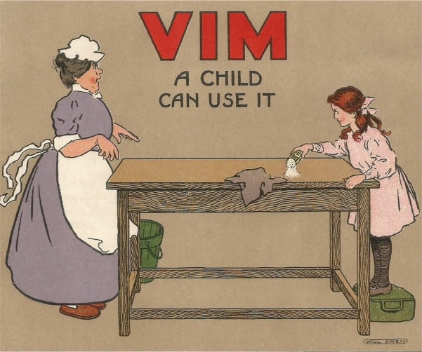 Cook and young girl with Vim. Edwardian chromol-itho advert