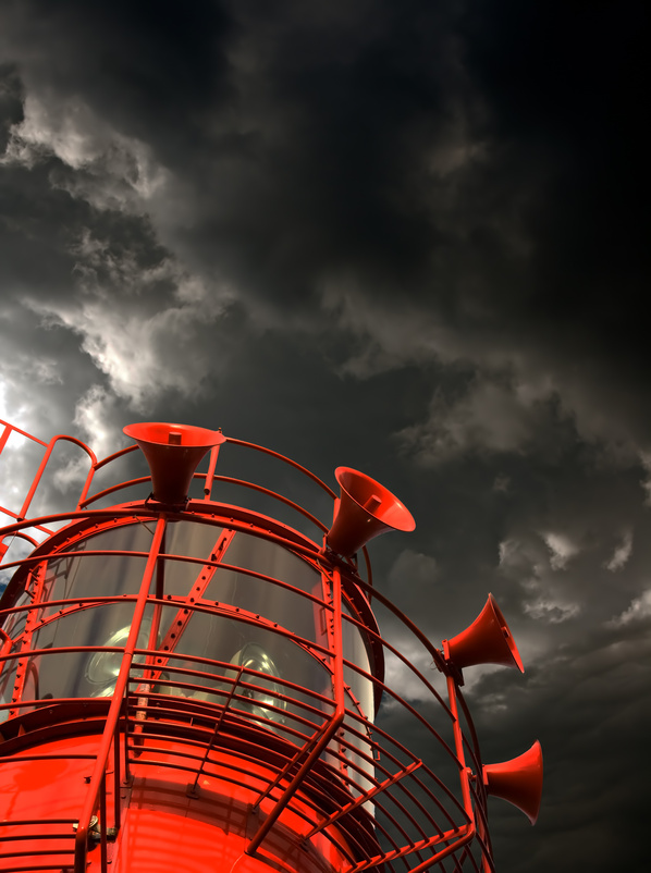The tower of a lightship, with foghorns